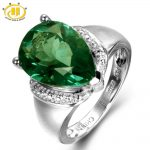 Hutang <b>Silver</b> 925 Jewelry Big Diamond <b>Rings</b> for Women 6.21ct Genuine Green Fluorite Solitaire Cocktail Finger <b>Ring</b> Fine Jewelry