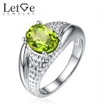 Leige Jewelry Natural Peridot <b>Ring</b> Green Gemstone Oval Cut <b>Sterling</b> <b>Silver</b> Engagement Promise <b>Rings</b> Anniversary Gift for Women