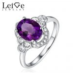 Leige Jewelry 925 <b>Silver</b> Purple Amethyst <b>Ring</b> Natural Oval Cut Wedding Engagement <b>Rings</b> for Girl Anniversary Gift Fine Jewel