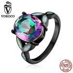 VOROCO Classic Authentic 100% 925 <b>Sterling</b> <b>Silver</b> Colourful Glass & Opal Finger <b>Rings</b> for Women Wedding Fine Jewelry VSR067