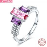 Jrose Luxury simple jewelry 100% authentic 925 standard <b>sterling</b> <b>silver</b> <b>ring</b> pink and purple CZ engagement wedding <b>ring</b> dance
