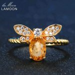 LAMOON Bee <b>Rings</b> for Women Natural Oval Citrine 925 <b>Sterling</b> <b>Silver</b> Fine Jewelry Party <b>Ring</b> Fashion Accessories Anel RI019