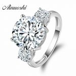 AINOUSHI Luxury Round Shape Wedding <b>Ring</b> 5 Carat Round Cut Promise Jewelry 925 <b>Sterling</b> <b>Silver</b> Women Engagement Wedding <b>Ring</b>
