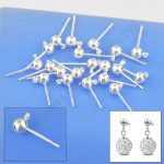 JEXXI 100PCS Lot Wholesale 925 Fine Jewellery Findings Real Pure 925 <b>Sterling</b> <b>Silver</b> Stud <b>Earring</b> Ear Pin 3MM Ball Beads Head