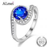 Almei Female S Shape Ocean Blue Topaz Wedding <b>Rings</b> Tested Zircon 925 <b>Sterling</b>–<b>Silver</b>-Jewelry for Women with Gift Box 40% FJ026