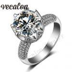 Vecalon luxury Design Crown wedding <b>ring</b> set for women Round cut 6ct AAAAA Zircon Cz 925 <b>Sterling</b> <b>Silver</b> Female Band <b>ring</b>