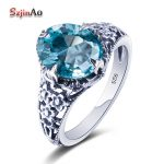 Szjinao stylish Russian 925 <b>Sterling</b> <b>Silver</b> <b>Ring</b> Handmade Aquamarine Cute <b>Rings</b> for Women Anniversary Wedding Engagement Women