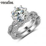 Vecalon 2016 Vintage Engagement wedding Band <b>ring</b> Set for women 3ct AAAAA Zircon cz 925 <b>Sterling</b> <b>Silver</b> Female Party <b>ring</b>