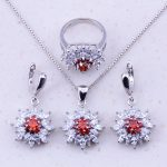 Eye-Catching Red Created Crystal & White AAA Zircon 925 <b>Sterling</b> <b>Silver</b> Flower Jewelry Sets For Women Fashion Jewelry J0037