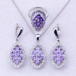Glamorous Purple Crystal Cubic Zircon 925 <b>Sterling</b> <b>Silver</b> Jewelry Sets For Women Wedding Party Fashion Jewelry J0029