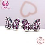 TINSO Women's Fashion Cubic Zirconia Jewelry Authentic 925 <b>Sterling</b> <b>Silver</b> Cute Bowknot Stud <b>Earrings</b> Lady Earings Accessory