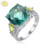 Hutang Big Cocktail <b>Rings</b> 925 <b>Sterling</b> <b>Silver</b> Jewelry Natural Green Fluorite Peridot Women <b>Rings</b> High Quality Fine Jewelry Bague