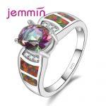 Jemmin Luxury Red Fire Opal Rainbow Crystal <b>Rings</b> For Women Fine Bridal Wedding Jewelry 925 <b>Sterling</b> <b>Silver</b> Party <b>Rings</b>