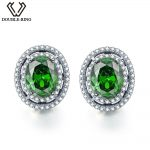 DOUBLE-R 925 <b>sterling</b> <b>silver</b> stud earrings for women Created Emerald Gemstone Bridal Vintage costume Jewelry
