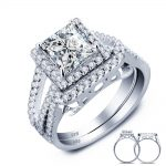 2015 New 1.5 Carat Princess Created Solid 925 <b>Sterling</b> <b>Silver</b> Wedding Engagement <b>Ring</b> Set Wholesale YR0009