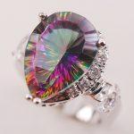 Rainbow White Mystic Crystal Zircon 925 <b>Sterling</b> <b>Silver</b> Woman <b>Ring</b> Size 6 7 8 9 10 F617 Fashion Wholesale Jewelry Free Shipping