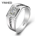 90% Off !! Real 925 <b>Sterling</b> <b>Silver</b> <b>Rings</b> for Man Hot Sale Men Wedding Jewelry <b>Ring</b> 0.75 Carat CZ Diamant Engagement <b>Ring</b> ZR29