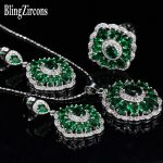 BlingZircons <b>Sterling</b> <b>Silver</b> CZ Jewelry 925 Luxury Green Cubic Zirconia Stone <b>Ring</b> Earrings Necklace Sets For Women Gift JS019