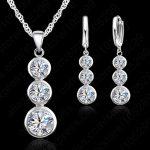 JEXXI Women Bridal Jewelry Set 925 <b>Sterling</b> <b>Silver</b> Fashion Necklace and Drop <b>Earring</b> Cubic Zircon Wedding Jewelry Sets for Women