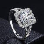 Women's large Cubic Zircon <b>ring</b> <b>sterling</b> <b>silver</b> 10mm main stone wedding <b>rings</b> for women <b>silver</b> jewelry bague femme