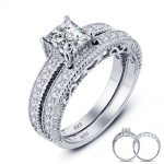 USTYLE Vintage Style Victorian 1 Carat Created Real <b>Sterling</b> 925 <b>Silver</b> 2-Pc Wedding Engagement <b>Ring</b> For Women YR0004