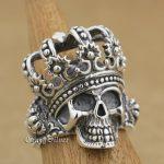 925 <b>Sterling</b> <b>Silver</b> King Skull Crown Mens Biker <b>Ring</b> 9W003 US Size 7.5 to 13