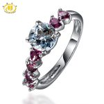 Hutang Diamond-Jewelry Fine Statement <b>Rings</b> for Women Natural Aquamarine & Rhodolite Solid 925 <b>Sterling</b> <b>Silver</b> <b>Ring</b> Wedding Gift