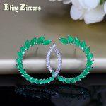 BlingZircons Brand Classic <b>Sterling</b> <b>Silver</b> Jewelry Green Cubic Zircon Stone Large 925 Post Stud <b>Earrings</b> For Fashion Women E093
