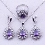 Admirable Purple Crystal & Cubic Zircon 925 <b>Sterling</b> <b>Silver</b> Jewelry Sets For Women Party Fashion Jewelry J0033