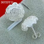 Wholesale Fashion Jewelry 925 <b>Sterling</b> <b>Silver</b> Stud <b>Earrings</b> Charm Woman <b>Earrings</b> High Quality <b>Silver</b> Rose <b>Earrings</b> Free Shipping