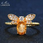 LAMOON Bee <b>Ring</b> Fine Jewelry Pure 925 <b>Sterling</b> <b>Silver</b> Adjustable Jewelry Natural Oval Citrine <b>Ring</b> For Women Anniversary Gift