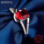 925 <b>Sterling</b> <b>Silver</b> Woman <b>Rings</b> Fashion Charm 100% <b>Silver</b> High Quality AAA Red Zircon <b>Rings</b> Woman Jewelry