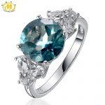 Hutang 925 <b>Sterling</b>–<b>Silver</b>-Jewelry Fine Women <b>Rings</b> Cocktail Wedding Big Natural Blue Fluorite & Topaz Diamond Jewellery Bague