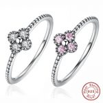 2 Color Pink & White CZ Romantic Women 925 <b>Sterling</b> <b>Silver</b> <b>Ring</b>