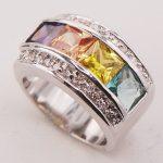 Peridot Yellow Crystal Zircon Morganite Women 925 <b>Sterling</b> <b>Silver</b> <b>Ring</b> F773 Size 6 7 8 9 10