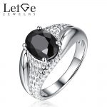 Leige Jewelry Natural Black Spinel <b>Ring</b> Solitaire Gemstone Oval Cut <b>Sterling</b> <b>Silver</b> Wedding <b>Rings</b> for Women Anniversary Gift