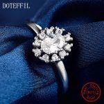 Woman 100% <b>Sterling</b> <b>Silver</b> Flower <b>Rings</b> Fashion Charm AAA Zircon Florid <b>Rings</b> Woman Jewelry
