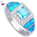 Fashion Opal Wedding <b>rings</b> Sky Blue Cubic Zirconia <b>Rings</b> for Women Blue Fire Opal 925 <b>Sterling</b> <b>Silver</b> size 5 6 7 8 8.5 9 R004