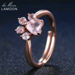LAMOON <b>Rings</b> Shadow Bear's Paw Natural Pink Rose Quartz <b>Ring</b> 925 <b>Sterling</b> <b>Silver</b> Fine Jewelry Romantic Wedding Bands Anillos New