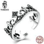 VOROCO Retro <b>Sterling</b> <b>Silver</b> 925 Crown <b>Ring</b> Princess Elegant Hot Sale Band Open Cuff Adjustable <b>Ring</b> Women Fine Jewelry VSR027