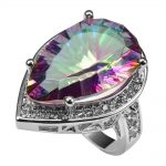Huge Rose Rainbow Crystal Zircon With Multi White Crystal Zircon 925 <b>Sterling</b> <b>Silver</b> <b>Ring</b> For Women Size 6 7 8 9 10 11 F1504