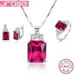 Jrose Famous Brand Women Accesssories Red Wedding <b>Ring</b> Earings Pendant Necklace 925 <b>Sterling</b> <b>Silver</b> Jewelry Sets Fine Jewelry
