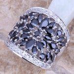 Black Cubic Zirconia White CZ 925 <b>Sterling</b> <b>Silver</b> <b>Ring</b> For Women Size 5 / 6 / 7 / 8 / 9 / 10 / 11 / 12 S0179