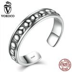 VOROCO Rose Flower 100% 925 <b>Sterling</b>–<b>silver</b>-jewelry Retro Style 5mm Width Wedding Party Cuff <b>Rings</b> for Women Fine Jewelry