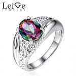 Leige Jewelry Rainbow Topaz High Quality Mystic Topaz <b>Ring</b> 925 <b>Silver</b> Engagement <b>Rings</b> for Women Oval Cut Christmas Gift
