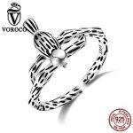 VOROCO Exquisite 100% Genuine 925 <b>Sterling</b> <b>Silver</b> Jewelry Stripe Solid Bird Animal Open Finger Cuff <b>Ring</b> for Women