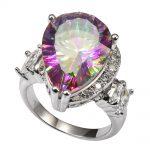 Shiny Rose Rainbow Crystal Zircon With Multi White Crystal Zircon 925 <b>Sterling</b> <b>Silver</b> <b>Ring</b> Size 6 7 8 9 10 11 F1494