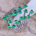 Unique Green Cubic Zirconia 925 <b>Sterling</b> <b>Silver</b> <b>Ring</b> For Women Size 5 / 6 / 7 / 8 / 9 / 10 / 11 / 12 S0222