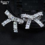 SIMIRY NEW AAA CZ S925 <b>Sterling</b> <b>Silver</b> Pin Bowknot Stud <b>Earring</b> bijoux Women Jewelry