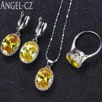 ANGELCZ Women Fashion <b>Sterling</b> <b>Silver</b> 925 3pcs High Quality Yellow Cubic Zirconia Stone Jewelry Sets For 2018 Summer Style AJ004